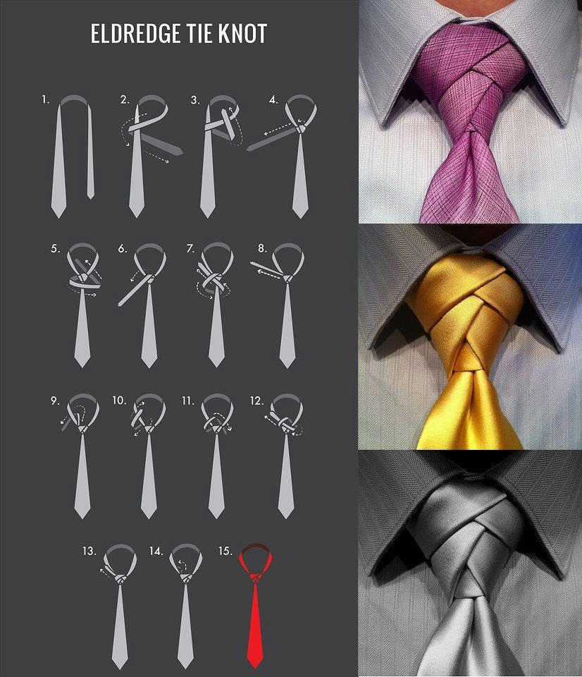 Schéma pour réaliser un nœud de cravate Eldredge