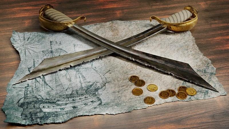 Deux épées de pirate sur une carte